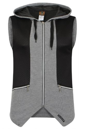 Mens Italian Designer fitted Hooded Top Waist Coat Black Grey with zip Detail (1)